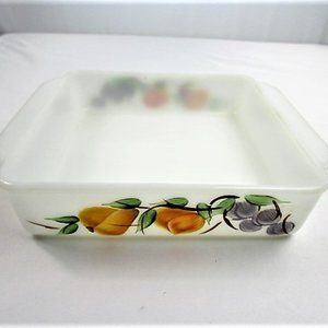 White Milk Glass Fire King Casserole Dish
